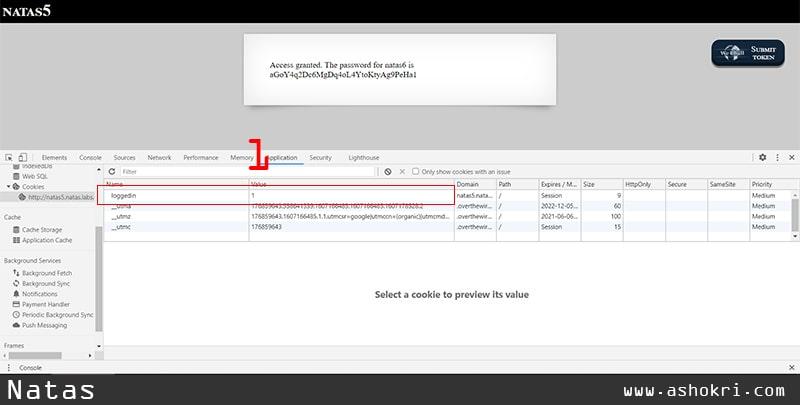 تغییر مقدار کوکی loggedin برای دسترسی به ناتاس 6